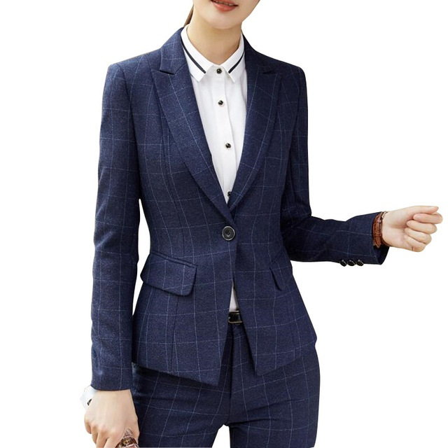 Back To Search Resultswomen's Clothing Winter Fashion Plaid Navy Blue Women Pant Suit Formal Business Long Sleeve Slim Blazer And Trousers Office Ladies Work Wear Supplement The Vital Energy And Nourish Yin