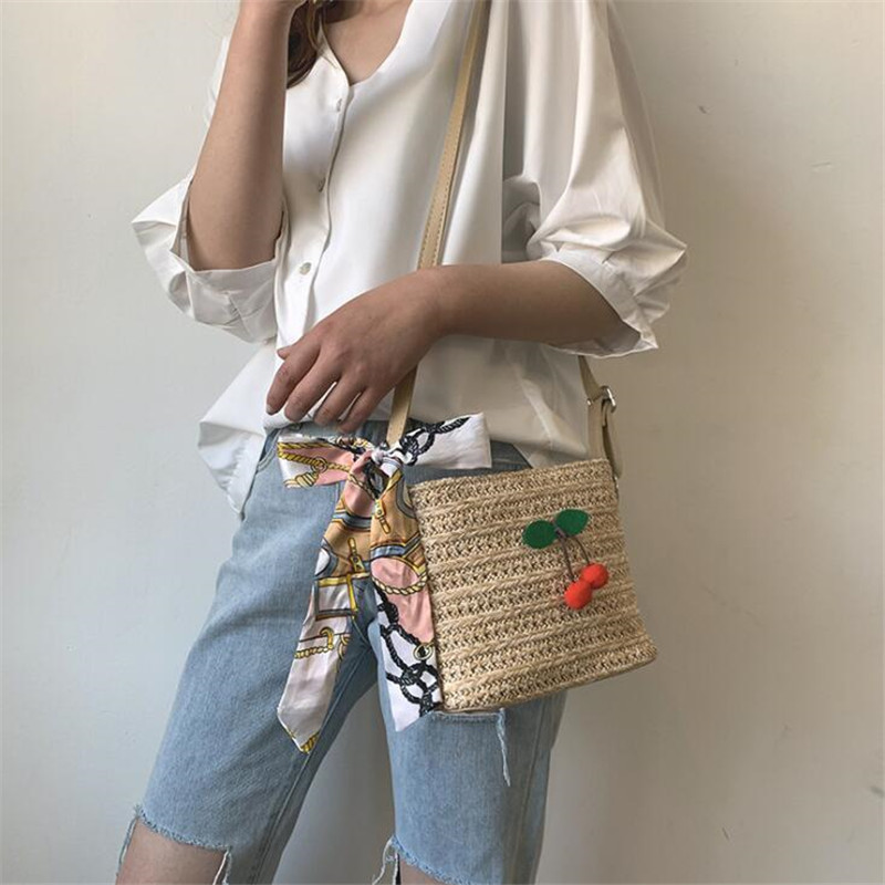 Women Bags 2019 New Woven Bag Fashion Cherry Bucket Bag Luxury Handbags Casual Wild Shoulder Messenger Bags in Shoulder Bags from Luggage Bags