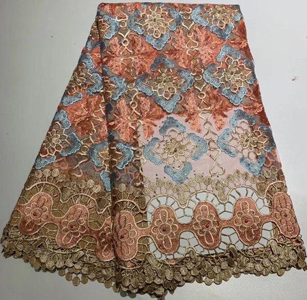 Hot koop 5 yards geborduurde afrikaanse franse kant stof met stenen afrikaanse kant stof voor jurk afrikaanse koord kant stof ZQ A104-in Kant van Huis & Tuin op  Groep 1