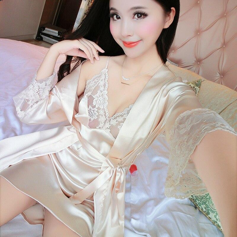 Summer Two Pieces Sets Elegant Womens Silk Satin Nightgowns&Sleepshirts Solid Sleepwear Mujer Robe Lady Sexy Lace Nightdress