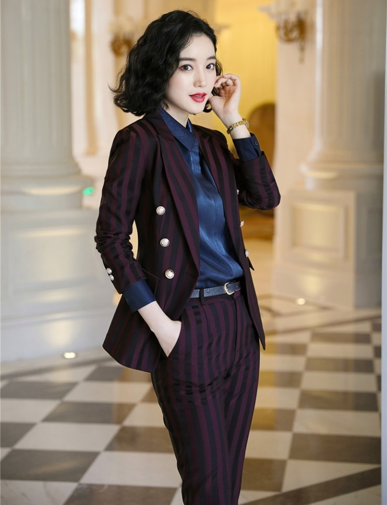 High Quality Fabric Novelty Wine Striped Women Business Suits with Pants and Blazer Coat Autumn Winter Professional Pantsuits 3