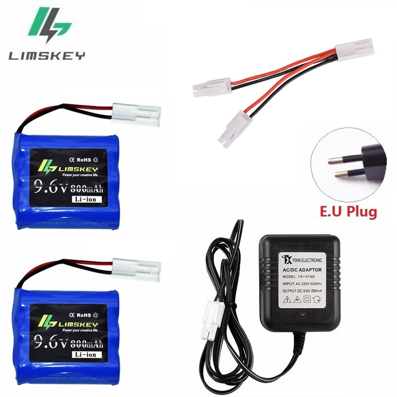 EL-2P Plug 9.6V Battery Charger For JYRC S911 9115 9116 S912 Rc Car Upgrade Spare Parts Double Battery Cable New Battery 800mah