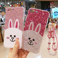 For iPhone 7 7plus Bling Crystal Luxury Cony Rabbit Diamond case for iphone 6 6S 6Splus 8 8plus X 5S hard back case gift case