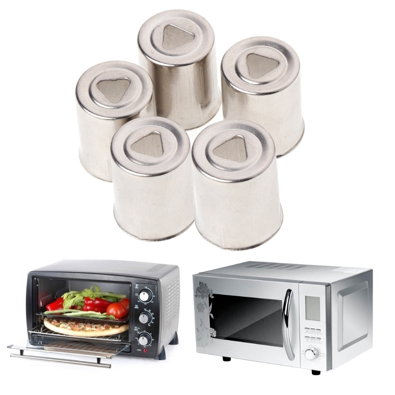 Steel Cap Microwave Oven Replacement 5Pcs/Set Round Hole Magnetron Silver Tone
