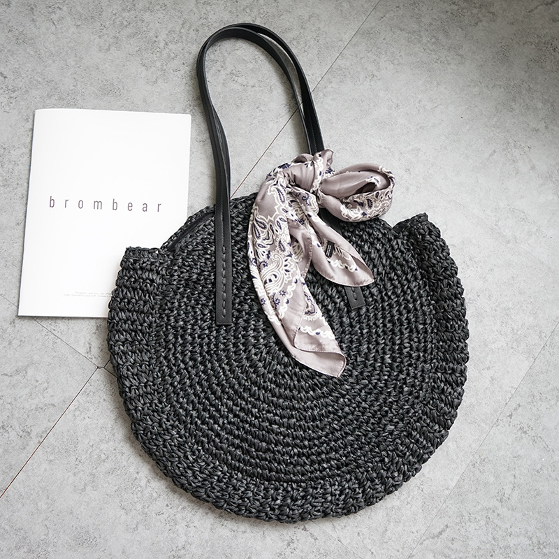 2018 new round straw bag beach bag woven large capacity single shoulder hand crochet Summer girl bag2018 new round straw bag beach bag woven large capacity single shoulder hand crochet Summer girl bag