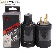 MPS Hades M/W AC Mains POWER Plug Soquete Do Conector EUA IEC320 Padrão Fibra De Carbono Blindagem de Alta Fidelidade de Áudio DIY 1PC