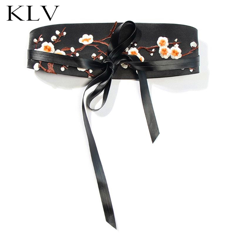 Fashion Simple Women Lady Belt Ethnic Wind Plum Embroidery Waist Strap Clothing Accessories Skirt Belts in Women 39 s Belts from Apparel Accessories