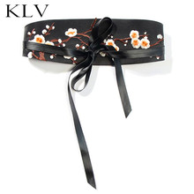 Fashion Simple Women Lady Belt Ethnic Wind Plum Embroidery Waist Strap Clothing Accessories Skirt Belts