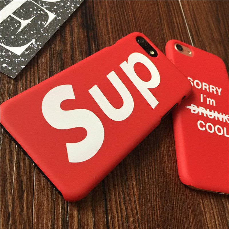 Fashion Sup Brand Case for iPhone 6 S 6s 7 8 Plus X PC Red Phone Coque Cover for funda iPhone6 iPhone7 7Plus 8Plus iphon ipone