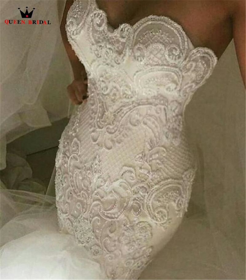 Mermaid Sweetheart Crystal Beaded Lace Pearls Sexy Luxury Vintage Wedding Dresses 2020 New Fashion Wedding Gown Custom Made YB89