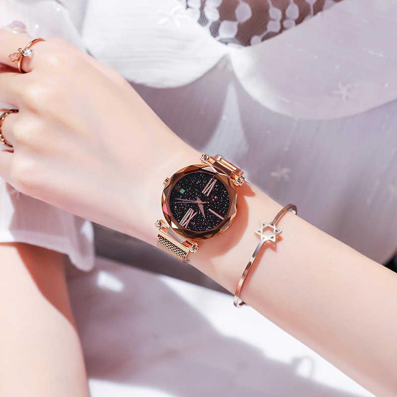 Melhor venda feminina malha ímã fivela céu estrelado relógio casual luxo feminino superfície geométrica quartzo relógios relogio feminino + caixa