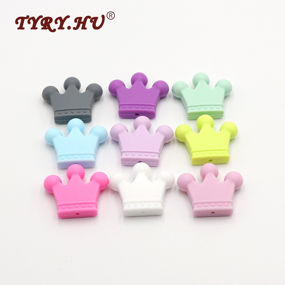 TYRY.HU Multicolor 50Pcs Crown Shaped Silicone Beads For Jewelry Making Food Grade Baby Mordedor Para Infants Tooth Care Product