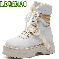Женские ботинки; однотонные ботильоны для женщин из натуральной кожи; ботинки на платформе со шнуровкой и круглым носком; Модные Ботинки