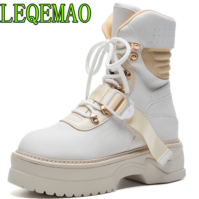 woman boots genuine leather Solid ankle boots for women lace up Round Toe platform boots fashion punk Martin boots Wedges shoes