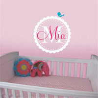 Sweet Scalloped Monogram Personalized Bird Vinyl Wall Decal Wall Stickers Nursery Baby Girl Room Decoration