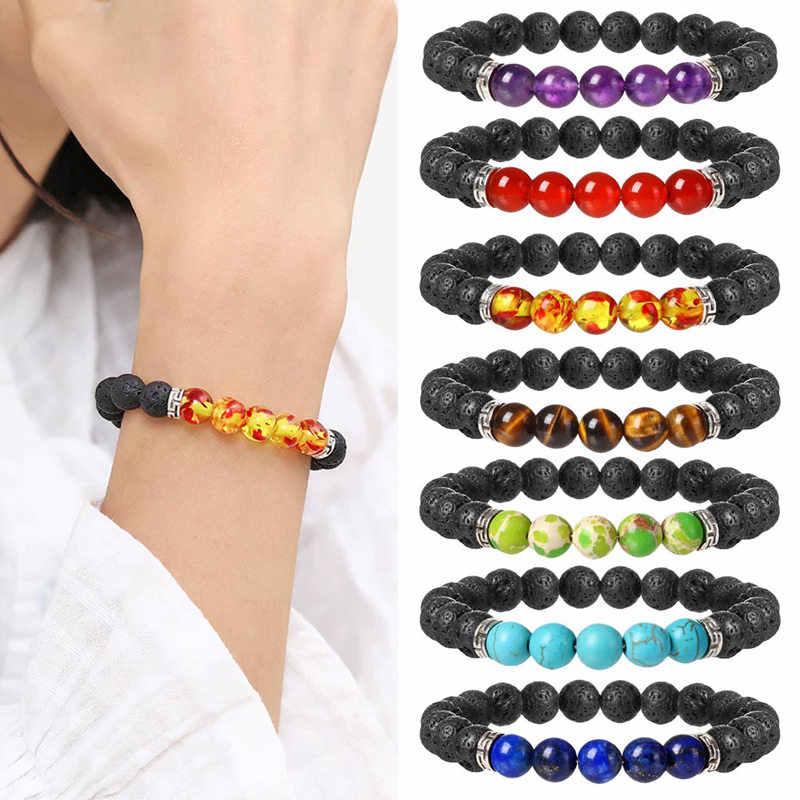 1 шт. модный стиль целебный браслет из бисера натуральная Лава украшение браслет из камней armbanden voor vrouwen