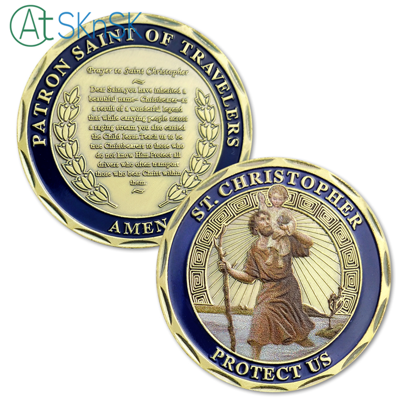 1pcs St. Christopher Protect Us Patron of Travelers Metal Challenge Coins For Collection Commemorative Coin Art Collection Gift