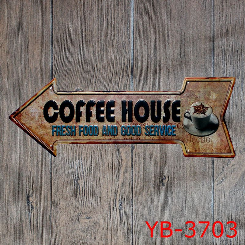 Free Shipping! New Coffee House Tin Sign Metal Poster Advertising board Coffee Art Decor Board Wall Metal Sign Wall Sticker
