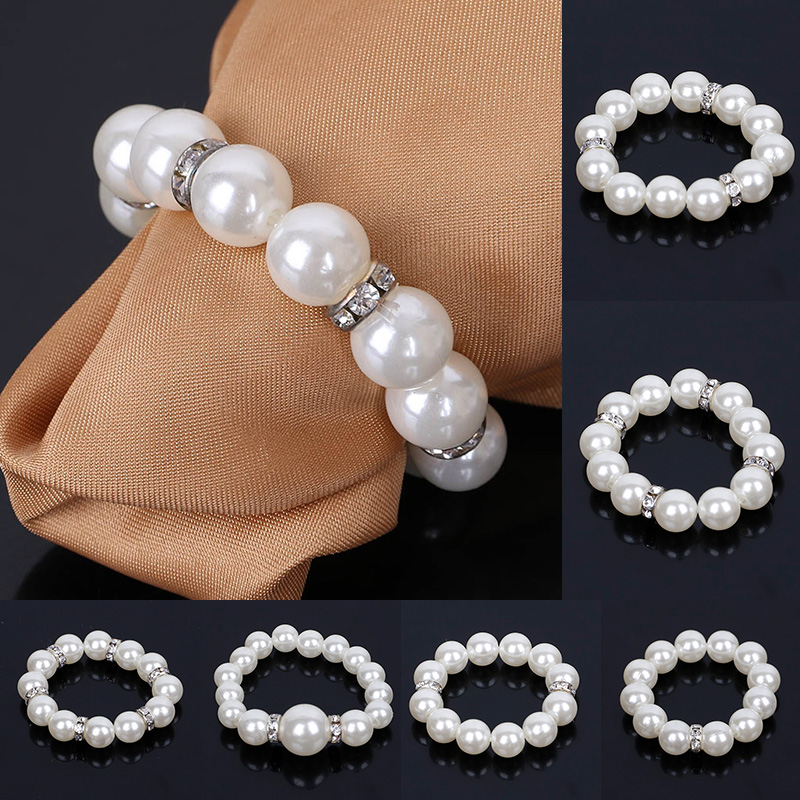 2017New 100Pcs Pearl Rhinestones Napkin Ring forTable Decoration Serviette Holder and Party Decoration EG08 EG13
