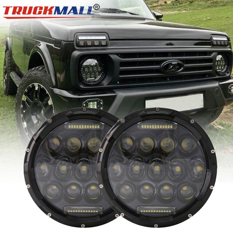 For VAZ 2121 Lada Niva 4x4 7inch 75W 12V 24V LED Headlights with Daytime Running Light