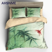AHSNME Chinese Bamboo and Red Dragonfly Duvet Cover Sets 100% Microfiber Bedding Set 3pcs