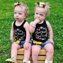 все цены на Baby Girl Tracksuit Summer Sweet Vest Floral Sunflower Print Denim Shorts Jean Baby Set 2pcs/Set Outfit Clothes for Girls онлайн