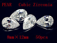 MRHUANG Shine !50pcs/pack Grade AAA Crystal Clear CZ Cubic Pear 8*12MM Zirconia Stone DIY Beads For Jewelry Finding Hot!