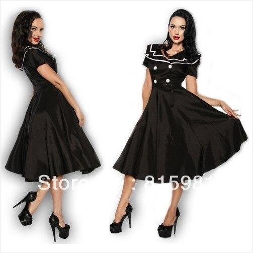 Black Sexy Vintage 50s 60s Sailor Marine Rockabilly Dress Swing