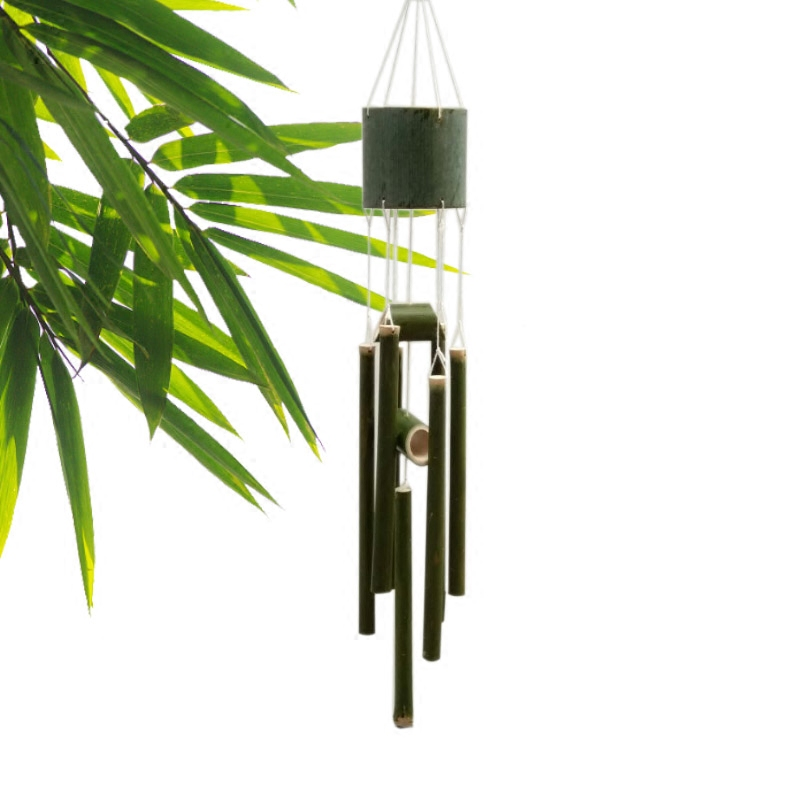 Aqumotic Medium Fresh Bamboo Wind Bell Meditation Chimes Solid Diy