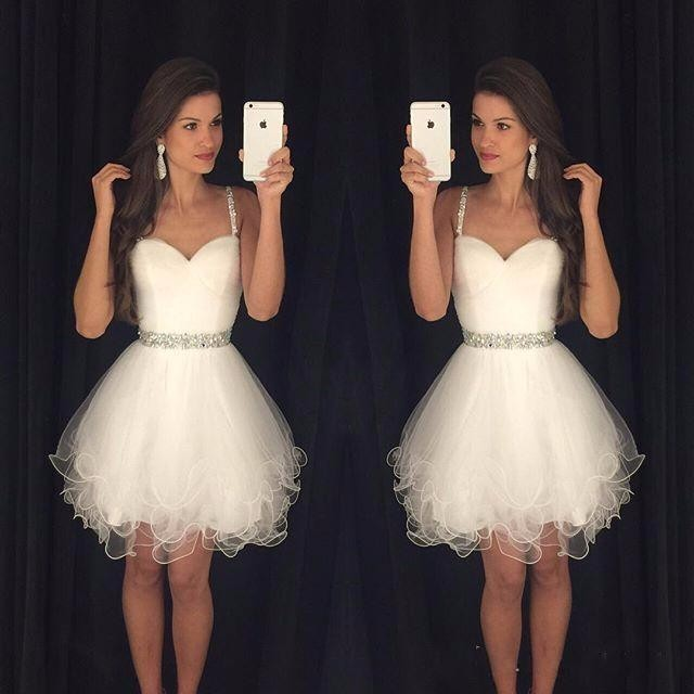 5d1a2f39717 Sweetheart Prom Dresses Puffy Short White Spaghetti Straps Beaded Crystals  Ruffles Graduation Party Dress Cheap
