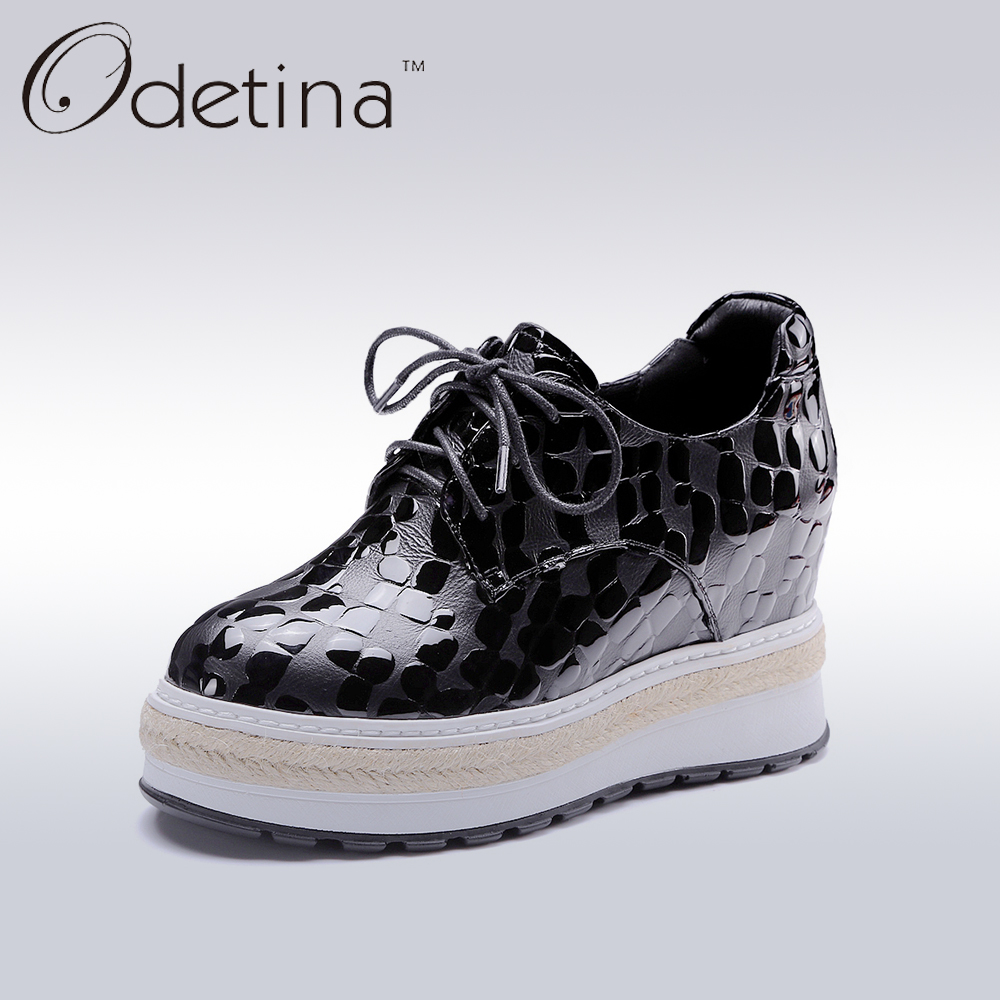 Odetina 2017 New Designer Genuine Leather Women Creepers Black Lace Up Women Wedges Platform Shoes Fashion Ladies Casual Shoes 2017 new fashion black women summer boots genuine leather platform shoes woman bowtie creepers gladiator wedges ankle booties