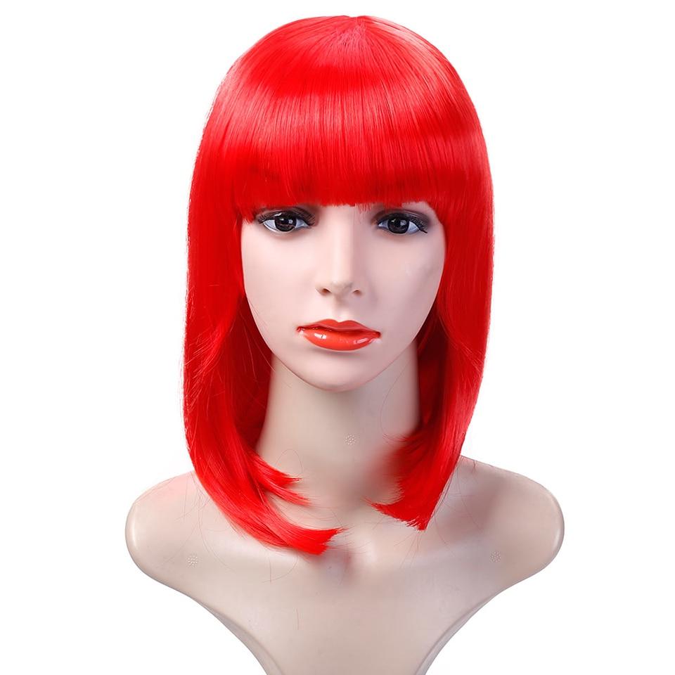 DIFEI Womens Girls Short Straight Flapper Bob Heat Friendly Cosplay Party Costume Halloween Hair Wig