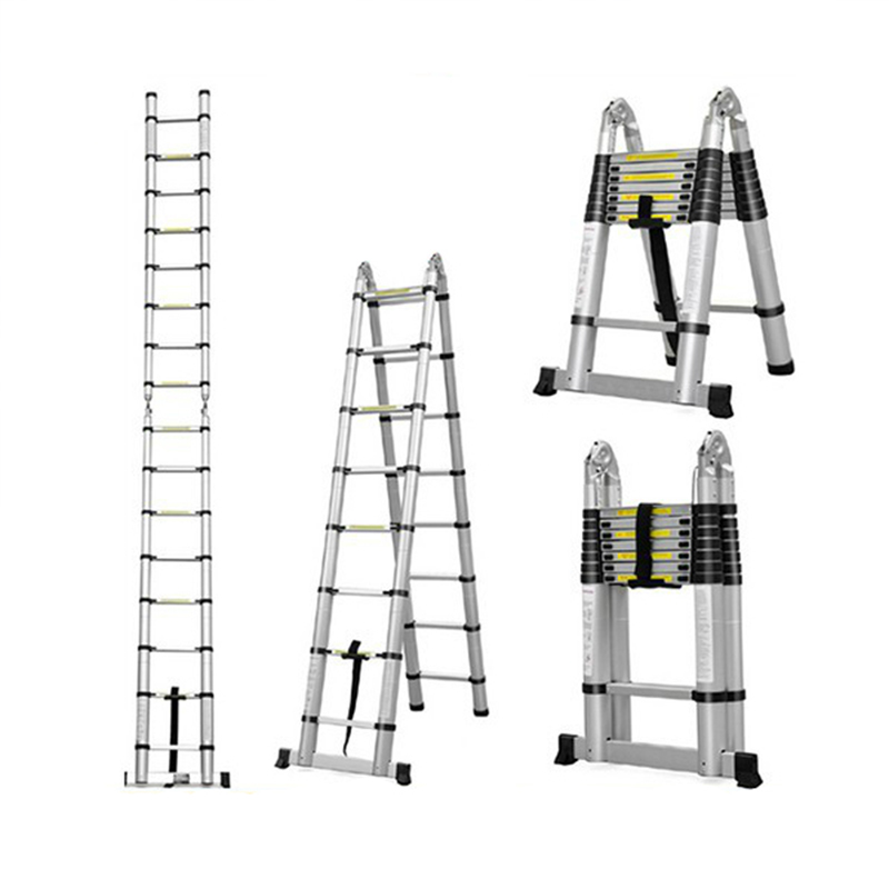 1.9m Telescopic Ladder Portable Extension Ladder Adjustable 3.8m Retractable Aluminum Alloy Straight Ladder