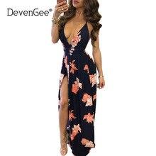 DevenGee Robe Femme Ete 2017 Summer Beach Maxi Dress Sexy Deep V Backless Women Party Dresses