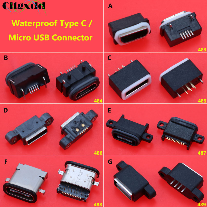 Cltgxdd 1PCS Waterproof Power Plug Dock SMT DIP Female Micro USB Connector Type-C Charging Socket Port USB 2.0 Socket Jack