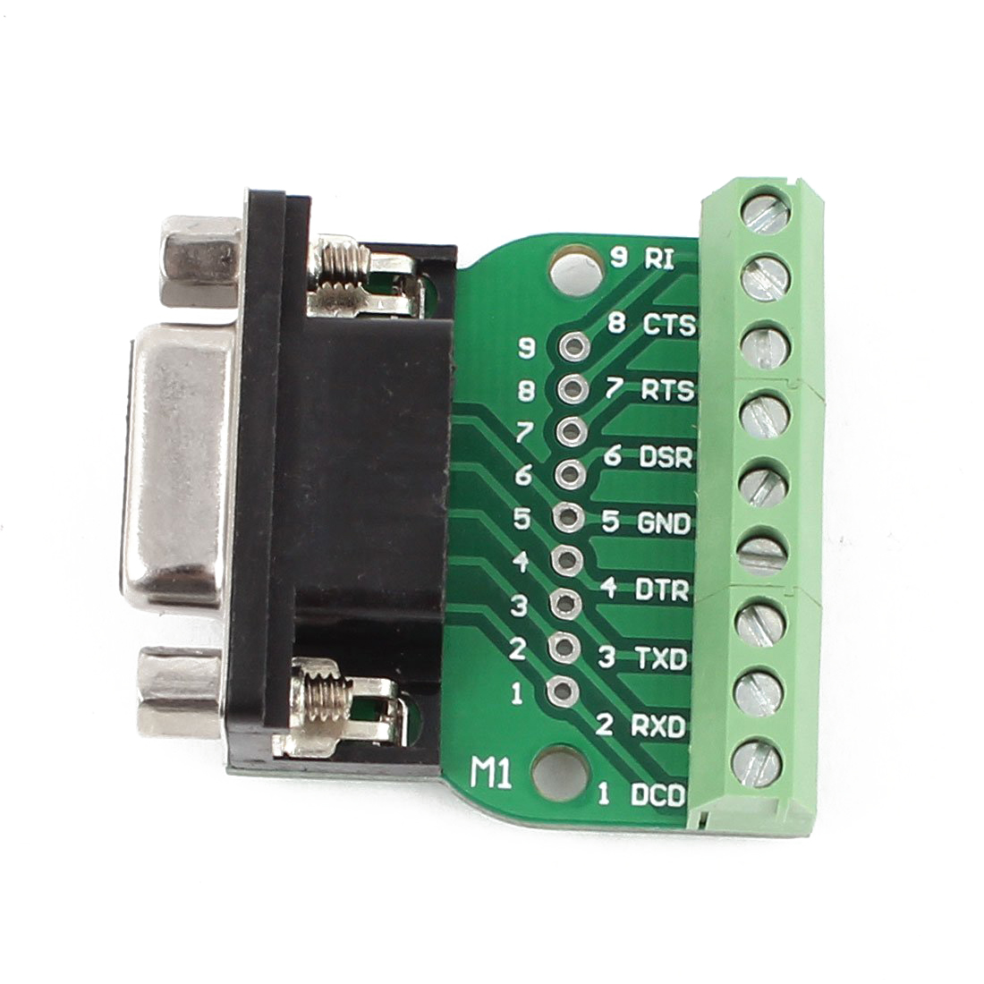 High Quality DB9 RS232 Serial to Terminal Female Adapter Connector Breakout Board Black+Green visa