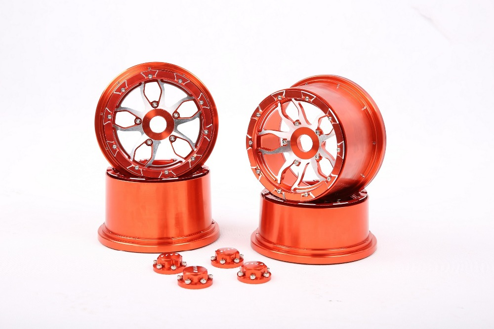 Baja 5B CNC metal wheel with new CNC seal chocks ,CNC 5B metal hub Kit fit for 1/5 RC CAR hpi rovan baja 5b ,Upgrade parts 5b cnc metal wheel set ts h85129 for baja parts sliver and orange choose with free shipping
