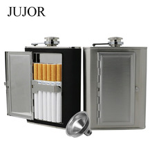 JUJOR Creative Cigarettes Case Stainless Steel Hip Flask 5/6 OZ Black PU Leather  with Funnel Home and Outdoor Sport