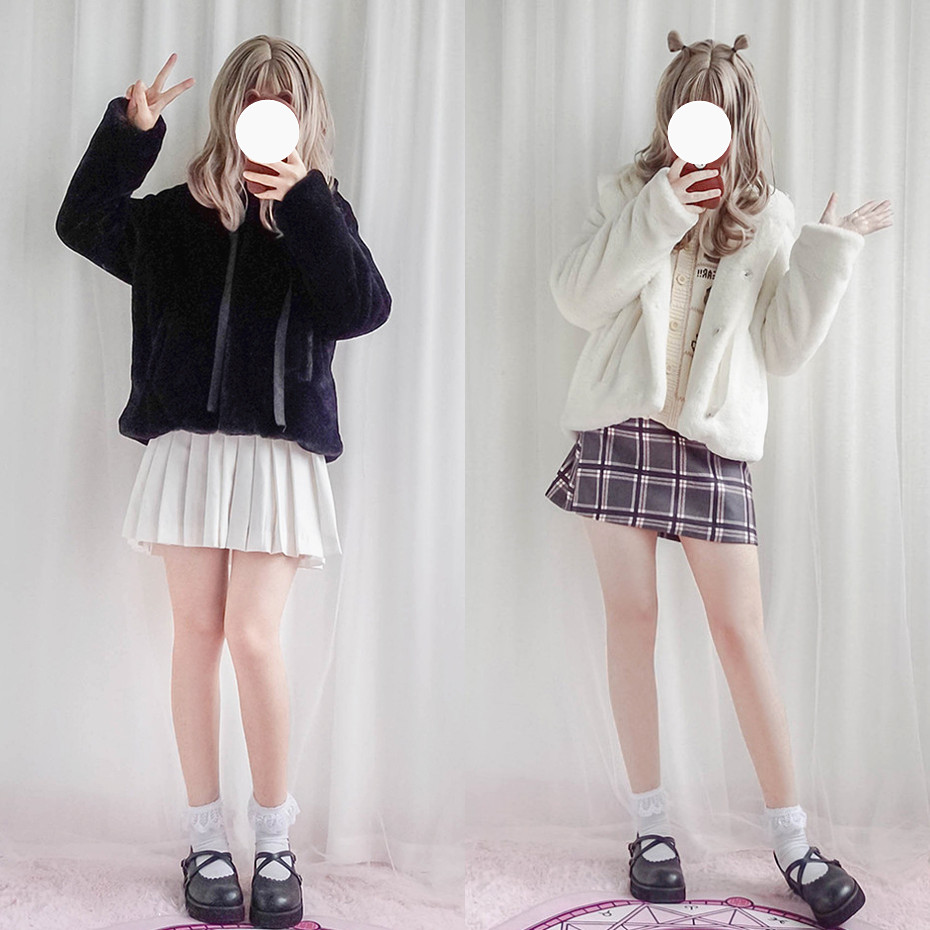 Cute Cat Ears Hooded Coat Women Winter Fake Fur Jacket Coats Japanese Kawaii Sweet Lolita Girl Sweet Thick Warm Overcoat 3Color