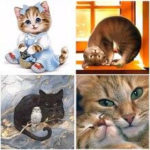 Kit de pintura de diamante 5D de resina de gato, mosaico completo cuadrado redondo, bordado de exhibición, punto de cruz de Animal de dibujos animados, decoración del hogar