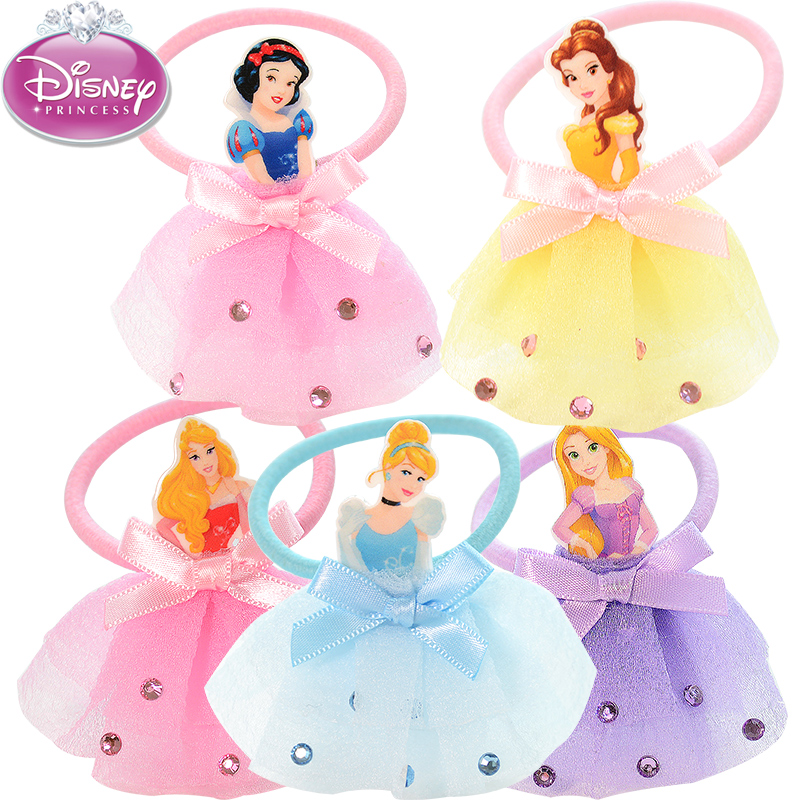 Disney Princess Fashion Kids Rubber Headbands Soft Fabric Cartoon Baby Girls Headwear Hair accessories Hair Elastic Hair Bands 1pcs hair accessories pearl elastic rubber bands ring headwear girl elastic hair band ponytail holder scrunchy rope hair jewelry