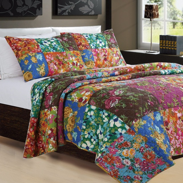 1* bedspread 2 *pillowcases Colorful Flowers Print Quilt Set Boho Bedding Set Queen Quilted Bedspreads