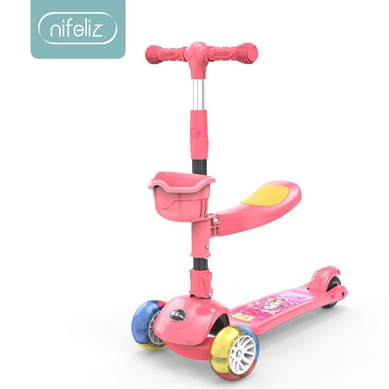 Enfants Scooter 3 roues coup de pied Scooter pied planche à roulettes avant LED clignotant roue musique fonction enfants Sport de plein air jouet
