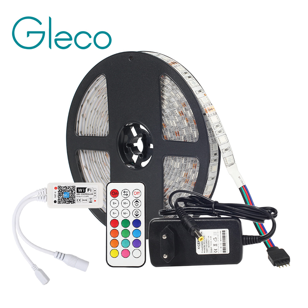 цена на DC12V LED Strip 5050 With WiFi Controller RF Remote,3A Power Supply Adapter LED Flexible Strip Light RGB 5050 RGBW 5M 60LEDs/m