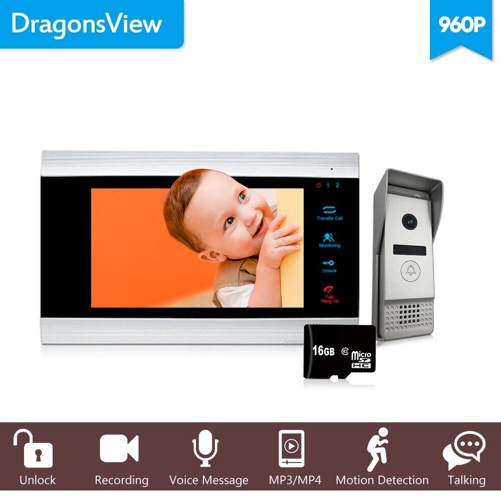 Dragonsview 7 pollice 960 p HD Wired Sistema di Video Citofono campana con la macchina fotografica Ampio Angolo di Rilevazione di Movimento di Registrazione di Sblocco Parlare