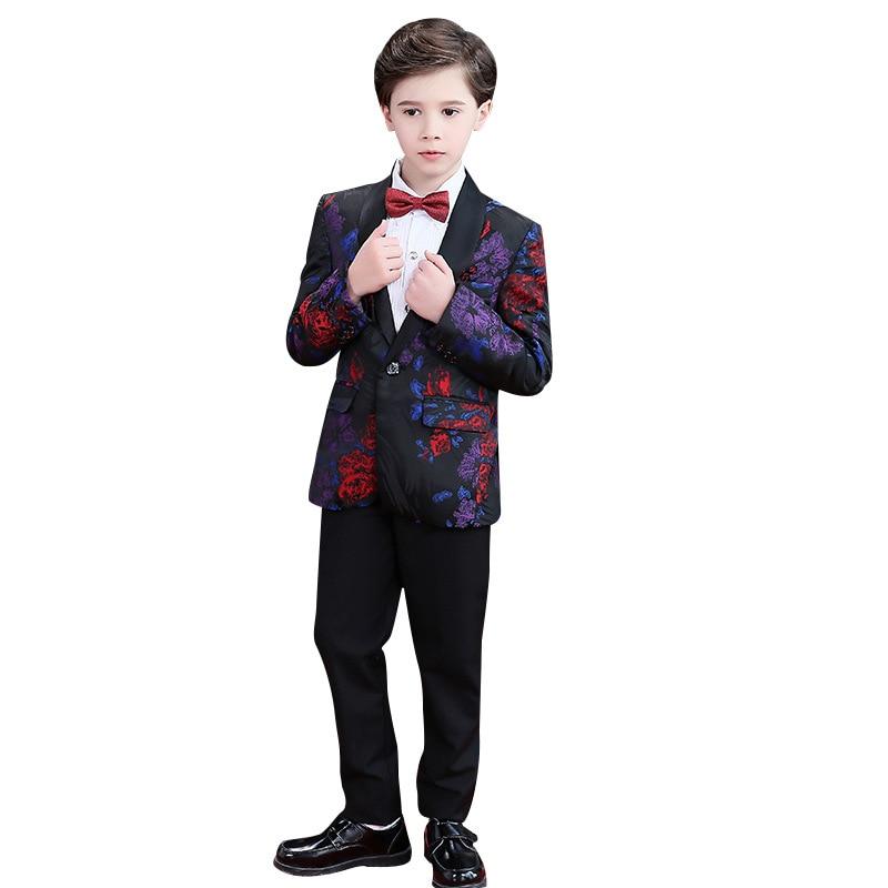 Children s Formal Dress suit Sets Flower boy Blazer Pants Outfits Kids piano performance Wedding Party