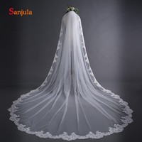 A Layer Long Ivory Veil for Bridal Wedding Accessories Appliques Edge Simple Europe Veil with Comb accessoires mariage V17