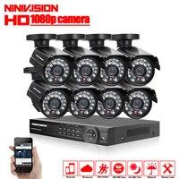 1080 P 8CH видеонаблюдения Системы 8 канал HDMI AHD NVR DVR HD 2.0MP Крытый пуля Камера комплект видео наблюдения Системы