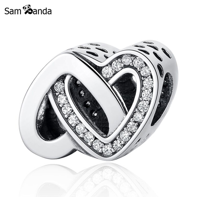 8e8cb1a28 Original Authentic 925 Sterling Silver Charm Bead Entwined Love Two Hearts  Charms Charms Fit Pandora Bracelets