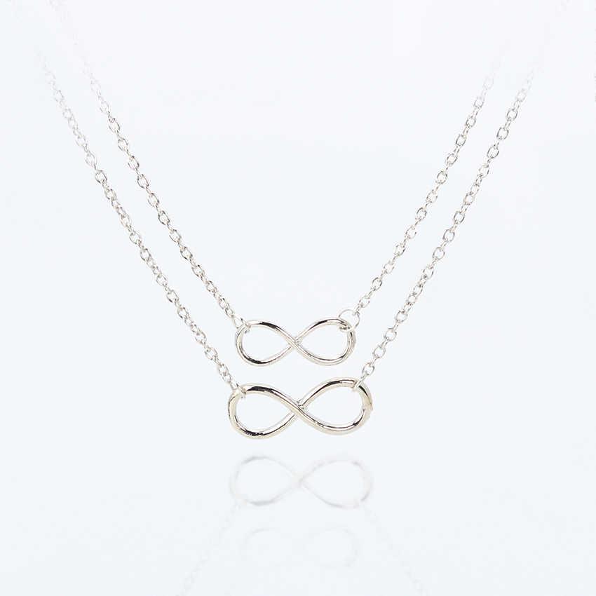 Женское Ожерелье s Подвески многослойное ожерелье Золотое серебро цветная цепочка двойной Бесконечность чокер для девочки подарок ювелирные изделия